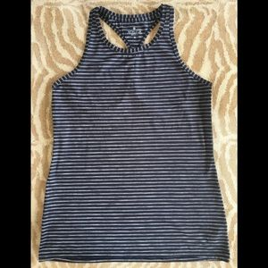 ATHLETA Black Striped Casual Racerback Tank Top